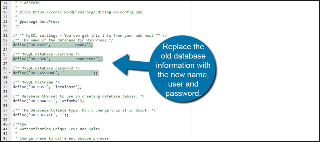 Change Database Info