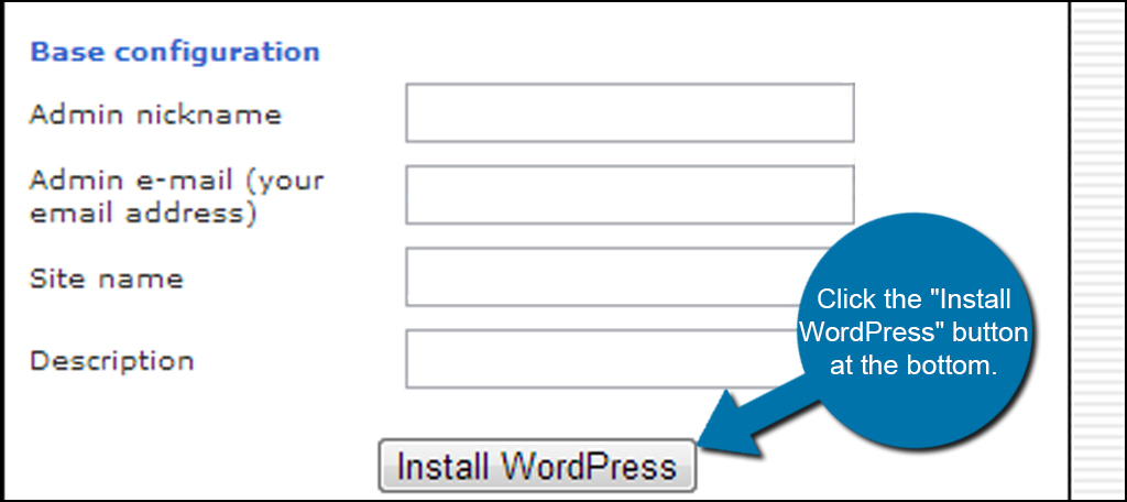 Install WordPress Button