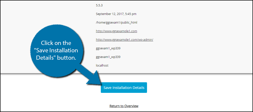 Save Installation Details