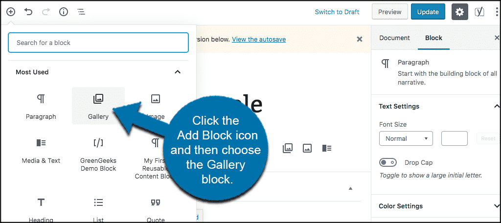 Add wordpress image gallery block