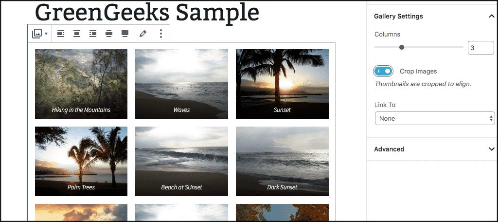 Wordpress image gallery settings