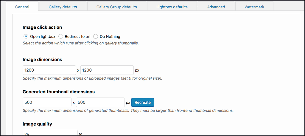 General settings for image gallery