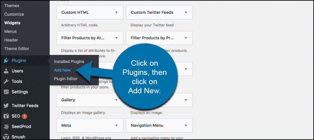 Click on plugins and then click add new