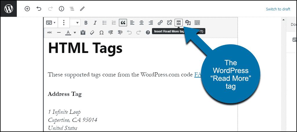 "WordPress ""read more"" tag"