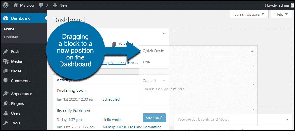 wp dashboard dragging a block to a new location