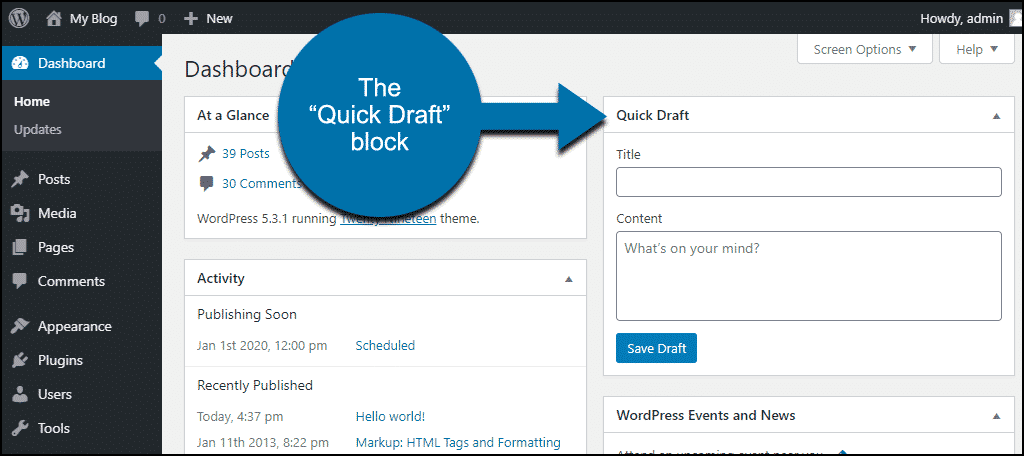 wp dashboard quick draft feature