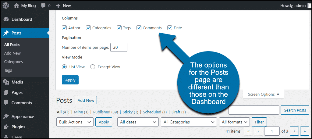 wp dashboard different options for different pages