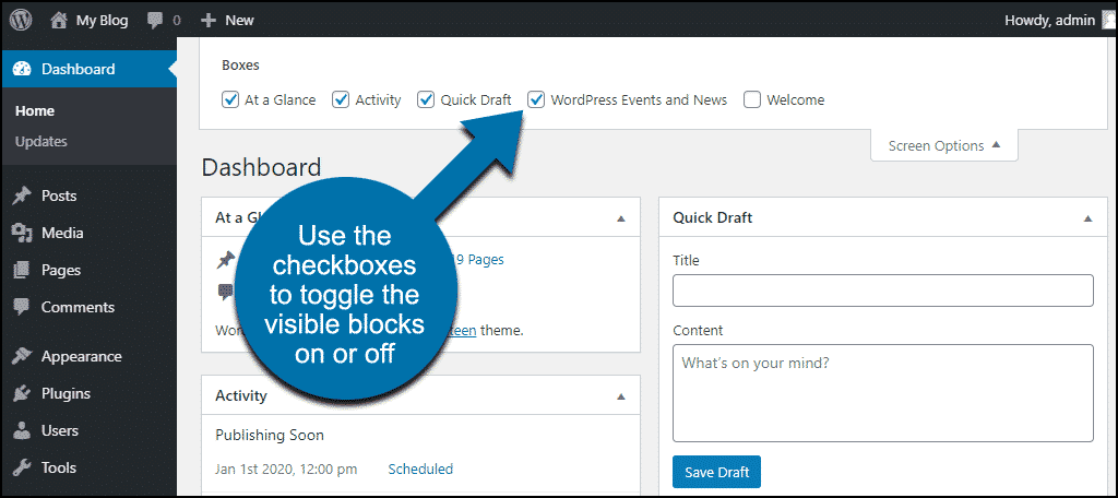 wp dashboard toggle blocks on or off
