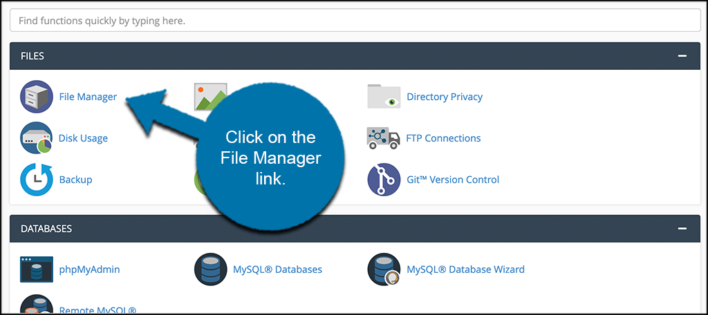 Click on File Manager link to move a wordpress site