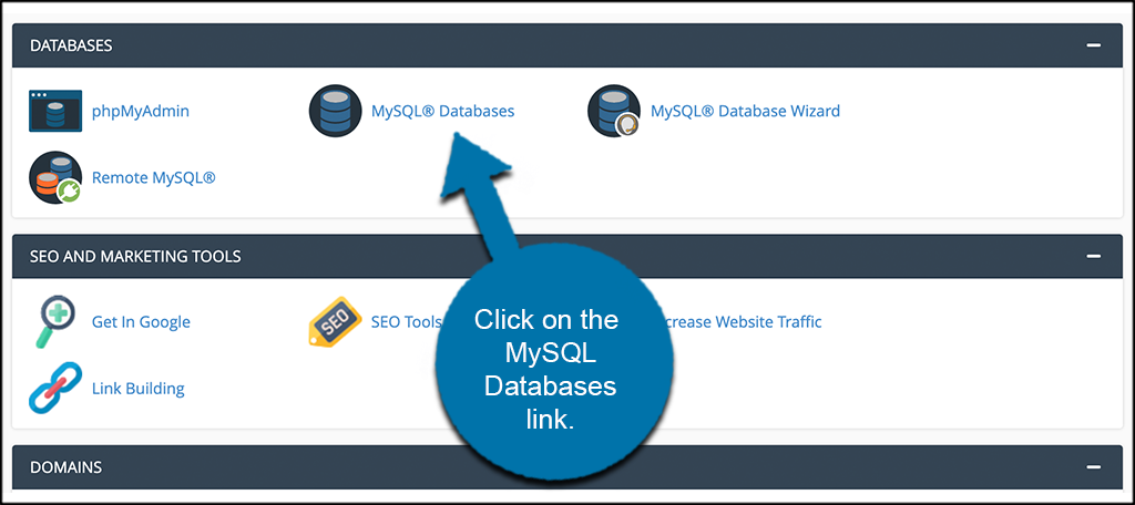 Click on MySQL databases