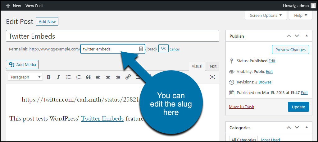 WordPress permalinks classic editor edit slug