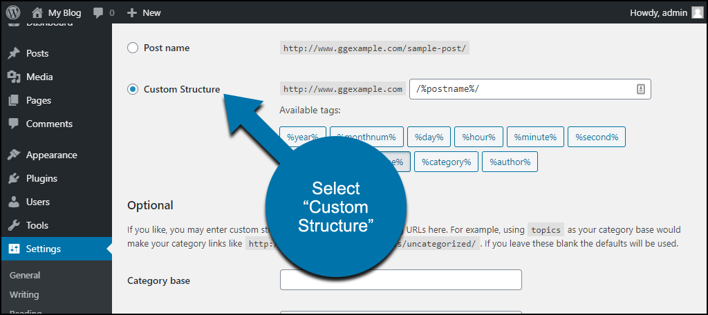 WordPress permalinks custom structure