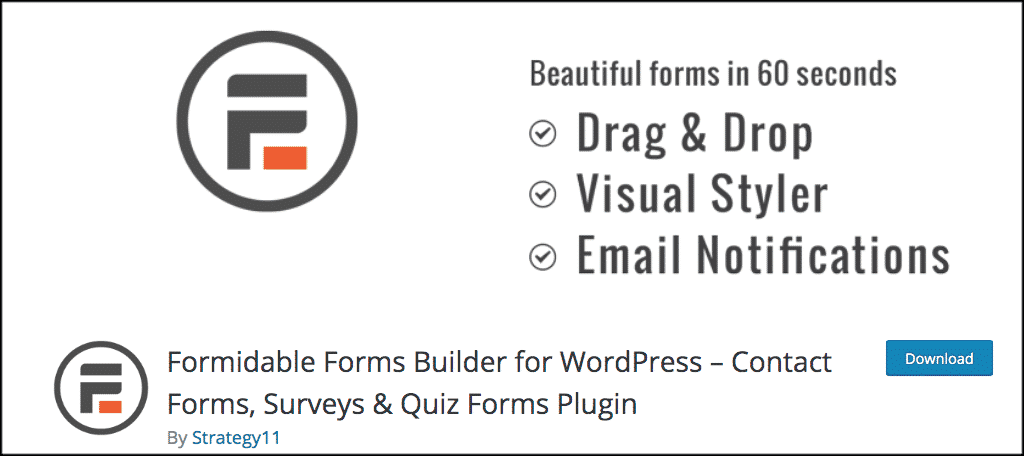Formidable Forms wordpress surveys plugin