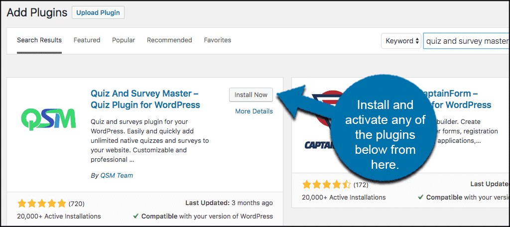 Install and activate wordpress survey plugin