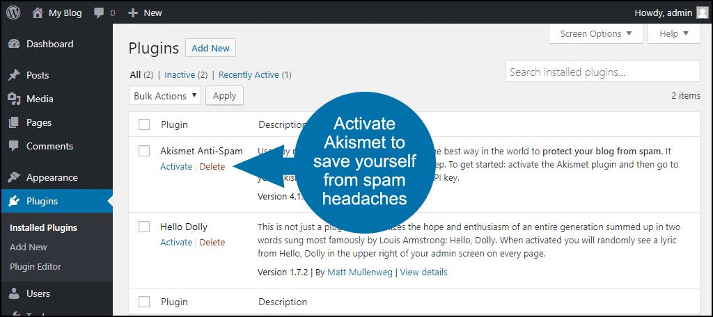 activate Akismet anti-spam