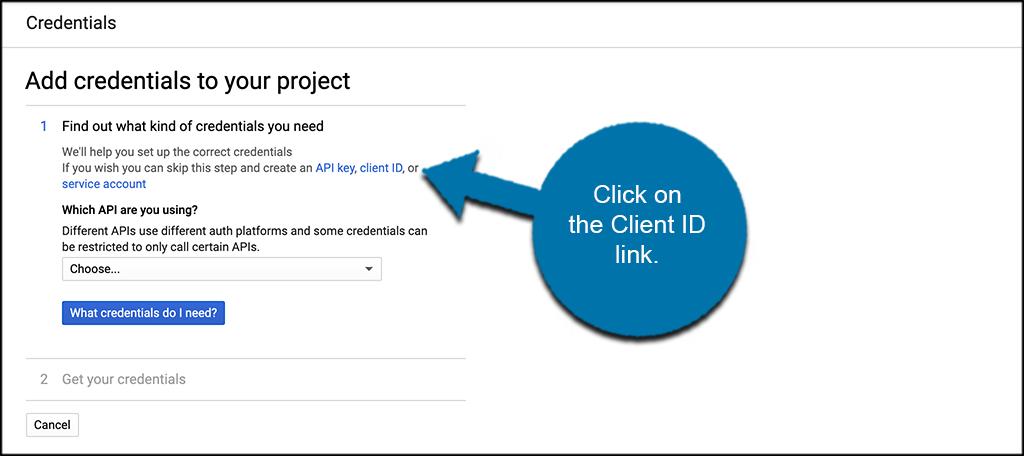 Click client id link