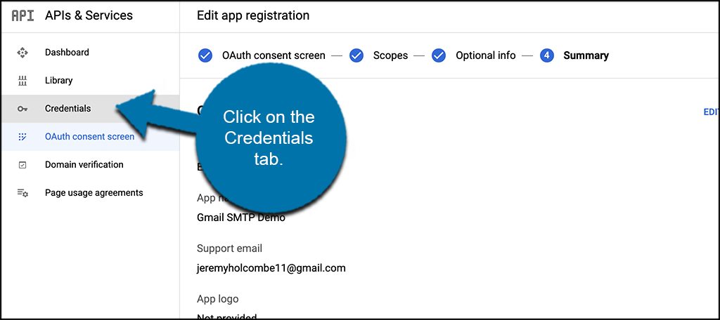 Click credentials tab for Gmail smtp