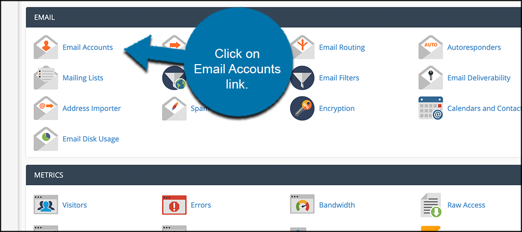 Click email accounts link