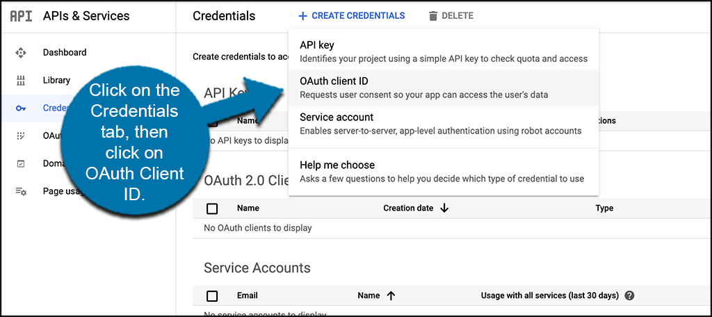 Click credentials then OAuth client id