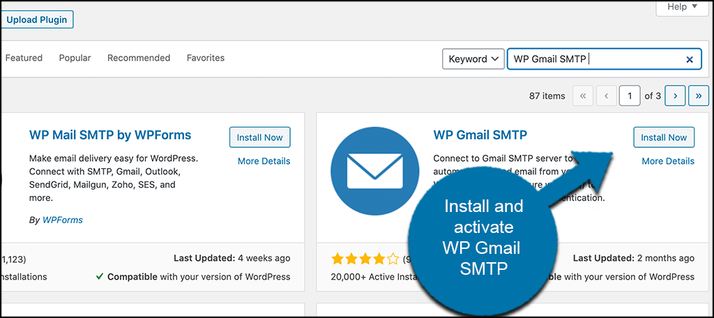 Install and activate gmail smtp plugin