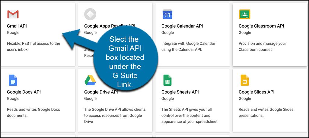 Select Gmail API tab