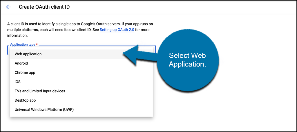 Select web application for Gmail smtp