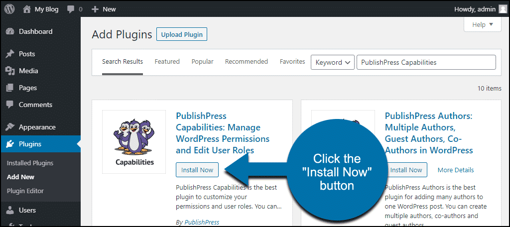 click to install the WordPress PublishPress Capabilities plugin