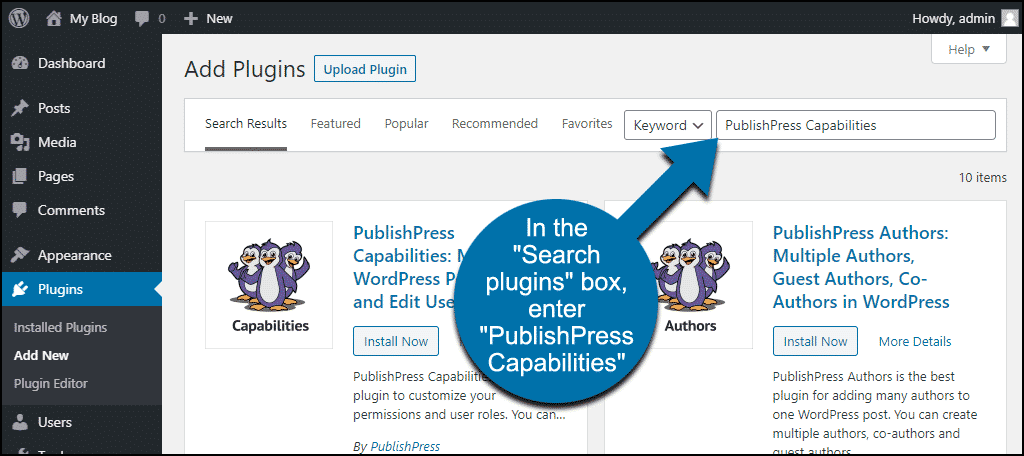 search for the WordPress PublishPress Capabilities plugin