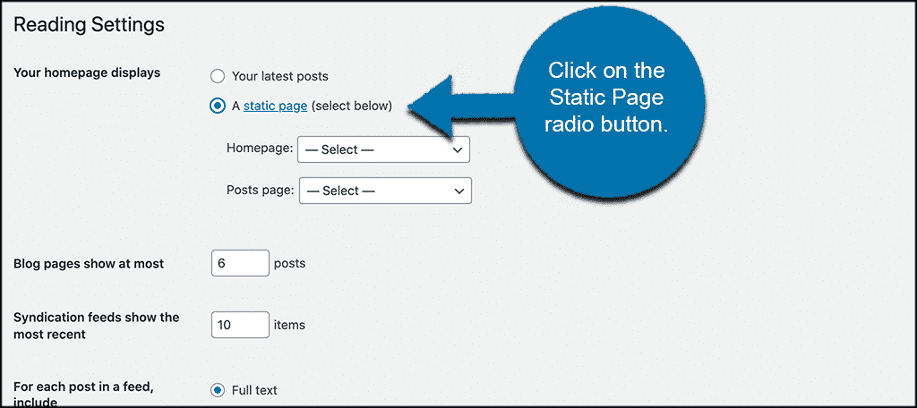 Activate static page radio button option for WordPress posts on page