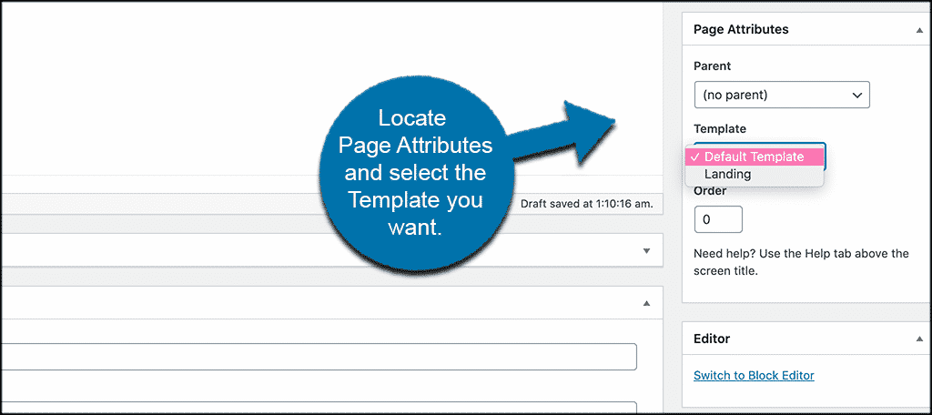 Page attributes and pick a template