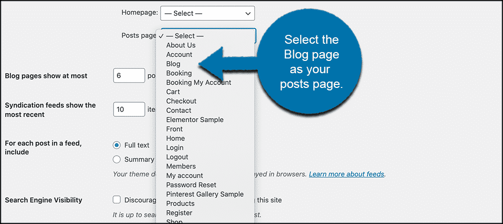 Select blog page as your posts page