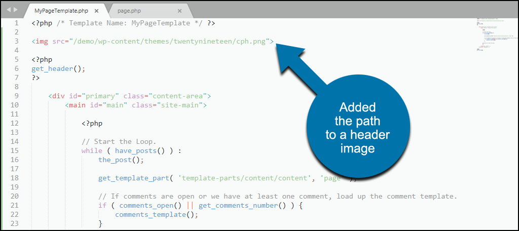 custom WordPress template adding an image