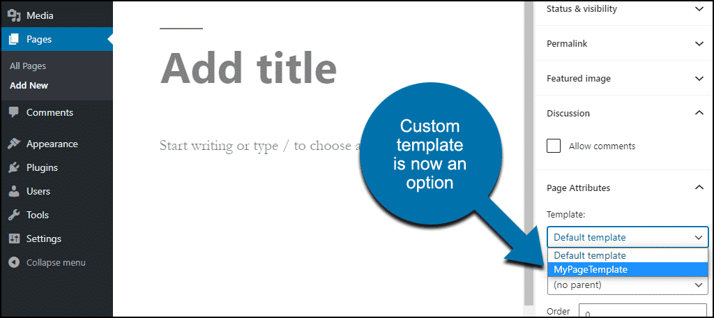 custom WordPress template in editor