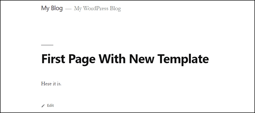 custom WordPress template new template page on site