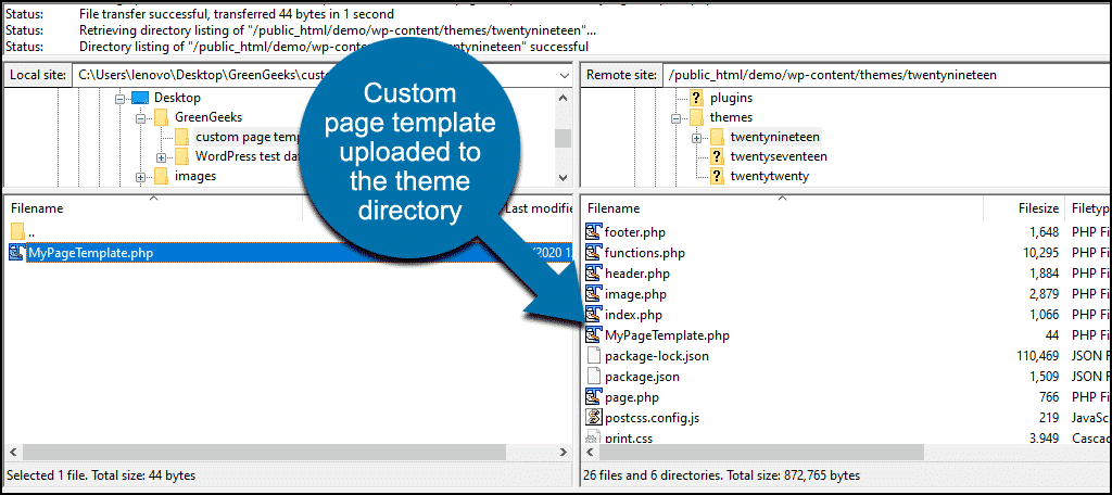 custom page file in WordPress theme directory