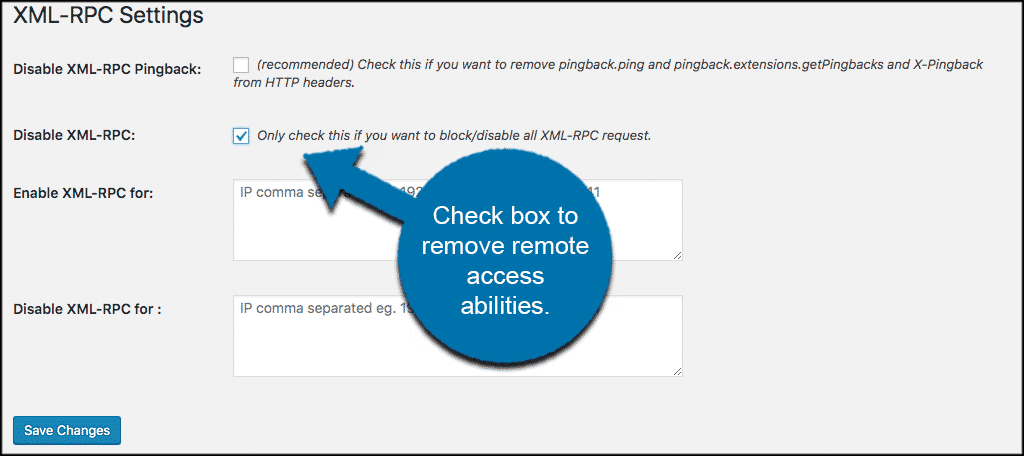 Check this box to remove remote access abilities