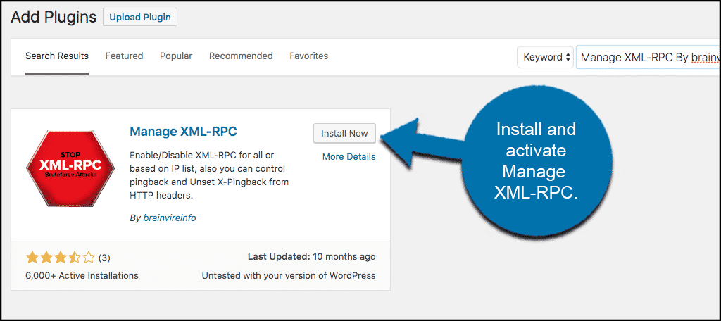 Install and activate the manage xml rpc plugin