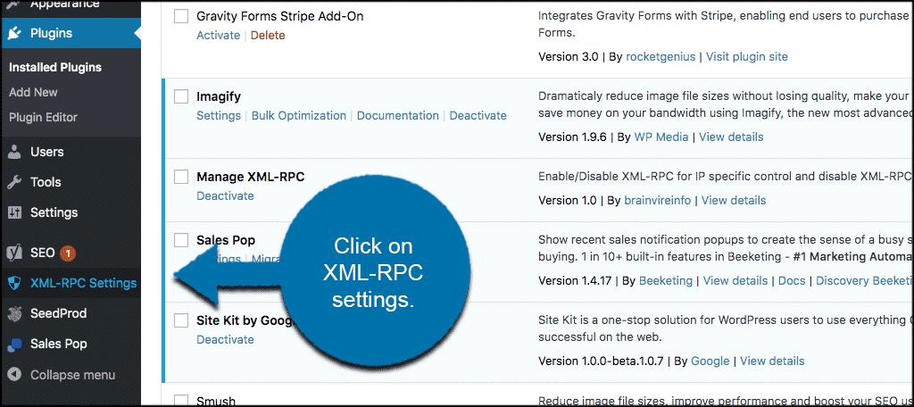 Click on xml rpc settings