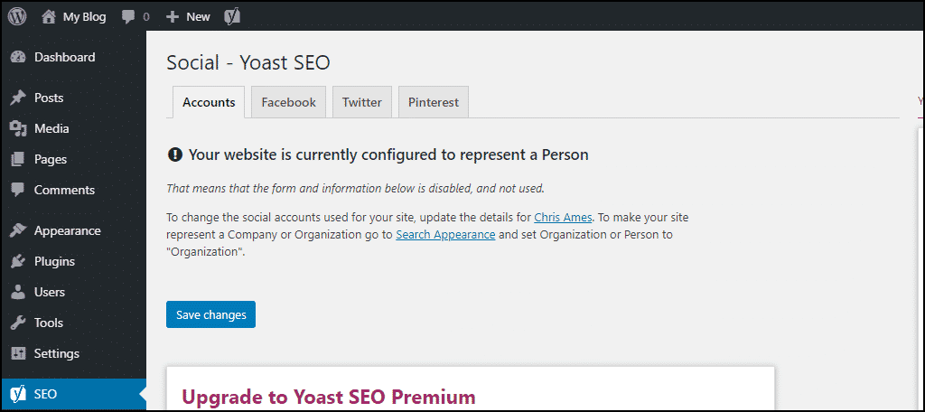 Yoast SEO accounts tab