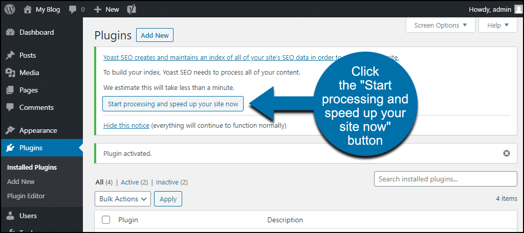 "click the Yoast ""Start processing and speed up your site now"" button"