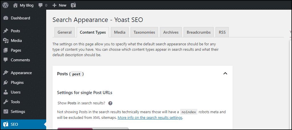 Yoast SEO content types tab