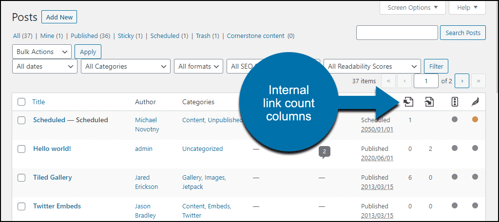 Yoast internal link counter