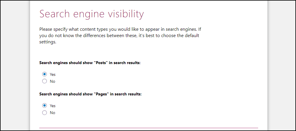 Yoast SEO search engine visibility setting