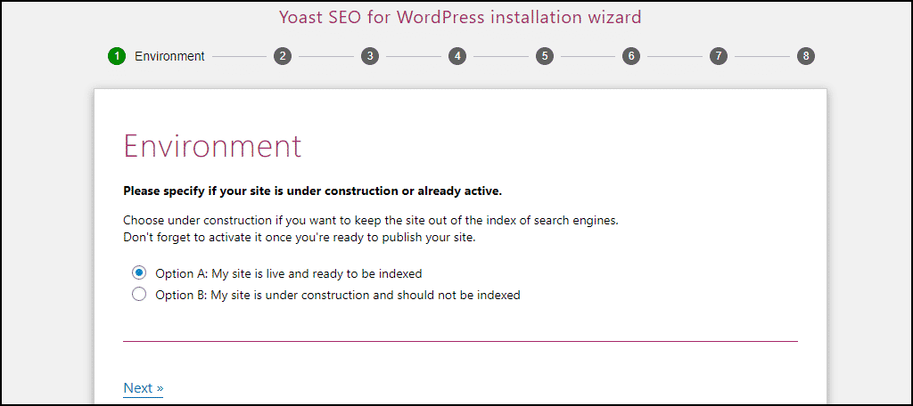 Yoast SEO website environment setting