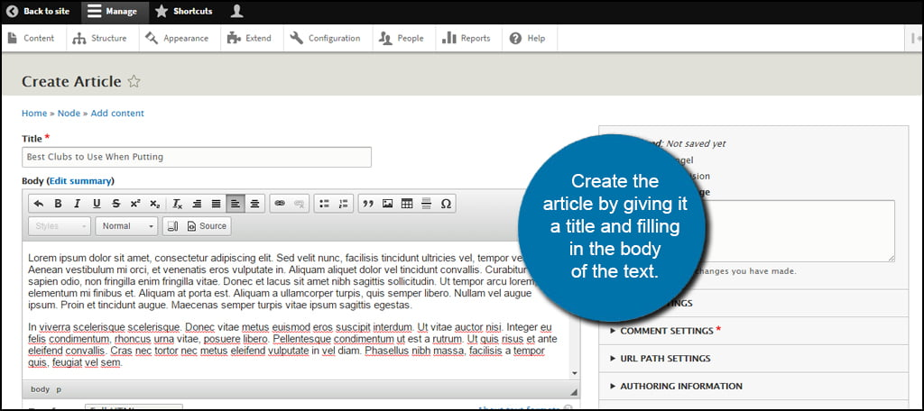 Drupal Article Create