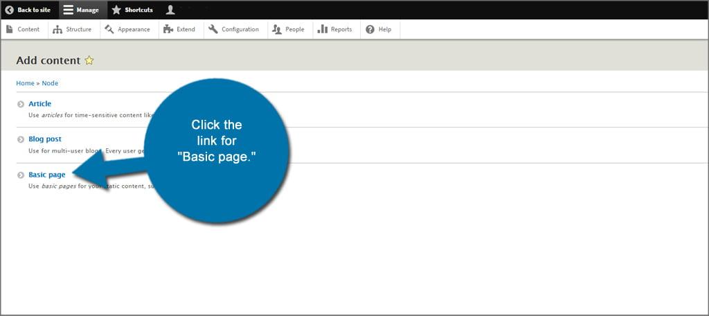 Drupal Basic Page Link