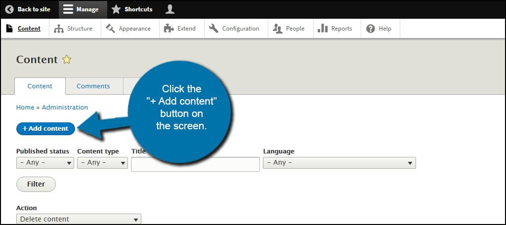 Drupal Click Add Content