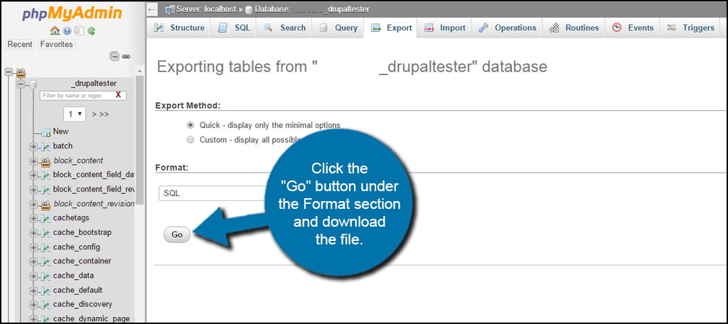 Drupal Database Download Go
