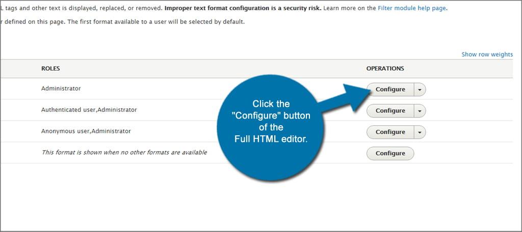 Drupal Editor Configure