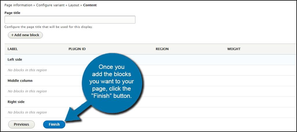 Drupal Finish Custom Layout Page